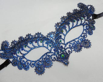 Blue Soft Lace Masquerade Mask - Available in Many Colors