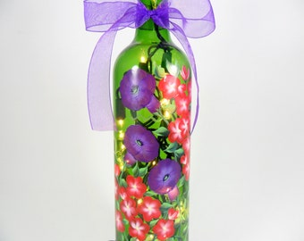 Lighted Wine Bottle Purple Morning Glories Red Geranium Hand Painted Flowers