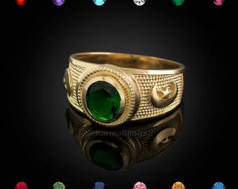 Gold Crescent Moon Ring - Color CZ Birthstone Ring - Customizable Stone