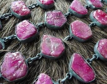 Raw ruby bracelet | Natural ruby bracelet | Rough ruby bracelet | July birthstone bracelet | Ruby silver crystal bracelet | Pink ruby stone