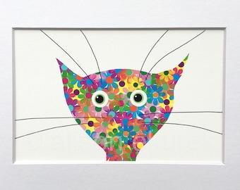 Colorful Flower Cat Print - Cat Art Print in 5x7  White Mat - Nursery Print - Girls Room Decor - Gift for Cat Lover