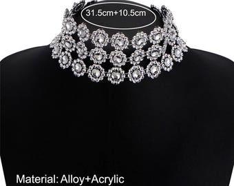 Rhinestone Choker neck MULTISTRAND necklace
