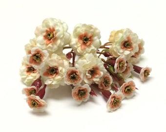Primroses - Artificial Pom Pom Roses - Cream with Peach - VERY SMALL FLOWERS