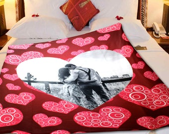"NEW!!! Personalized 'Lover's Heart 2"" VALENTINE""S or WEDDING Fleece Blanket"