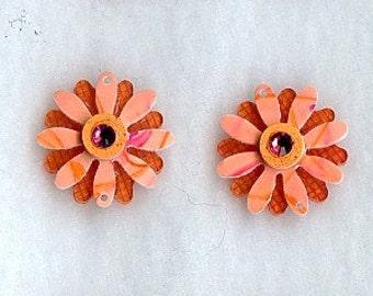 Peachy Double Daisy pair