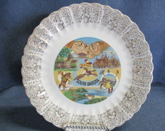 South Dakota State Plate with Gold Trim 1950's