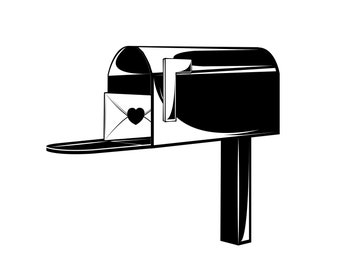 Mailbox icon SVG | Valentine's day Greeting card | Delivery postbox, Letter, Heart, Mail | Digital cutting file | Vector illustration