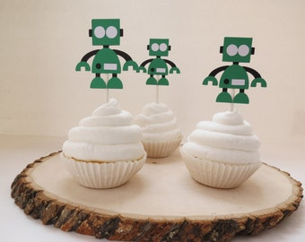 Robot and Gears - Cupcake Toppers - Set of 12 - Green