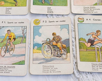 Vintage French Game Cards with Sporting Men