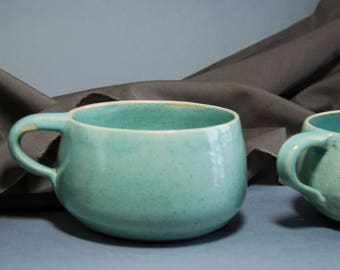 Ceramic rustic tea cup. Large Pottery coffe cup. Cute Light blue Handmade soup cup. Husband 30th birthday. Made to order