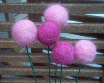 Felted Pom Pom Bouquet Needle Felted Pink Magenta Balls