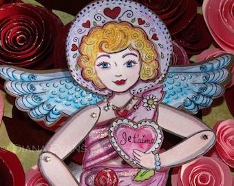 Je t ' aime Liebe Engel Paper Doll komplett montiert