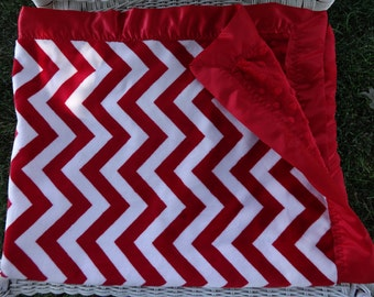 Minky Baby Blanket - Red Chevron Minky