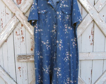 Vintage 1990s Lane Bryant denim floral dress 18WP XL XXL 2X