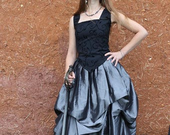 Silver and black long skirt puffy elven, medieval, steampunk, Gothic style Cape Diem