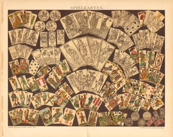 1895 Playing Cards Original Antique Chromolithograph to Frame