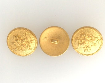 Buttons, Gold plated set of 3  emblem button large: #2567