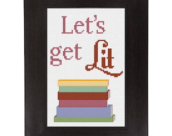 PDF Let's Get Lit Cross Stitch Downloadable Digital Pattern