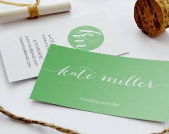 Business Card  - Mint Green Script | The KATE | Digital Business Card | Branding | Calling Card | Modern