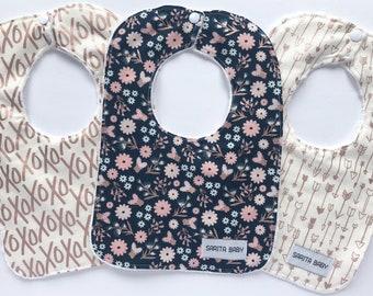Baby Bibs Gift Set - Baby Girl - Rose Gold Bib - Gift for Baby - Arrows Bib - Baby Shower Gift - Baby Bib - Hugs and Kisses Bib - XO Bib