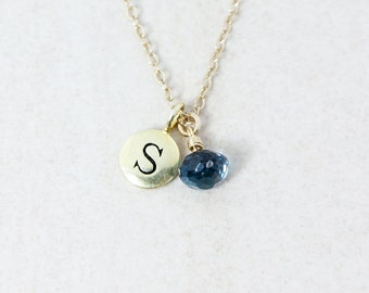 London Blue Topaz Necklace with Initial - Gold or Silver