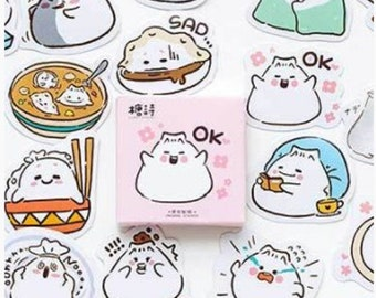 Dumpling Sticker - Kawaii Stickers - Die Cut Stickers - Cute Sticker - Planner Stickers, Set of 45