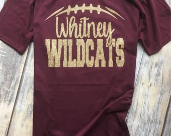 Football Team Spirit, Go Wildcats, Maroon and Gold Glitter, School Colors, School Pride, Team Spirit Tee Shirt Custom Team Name
