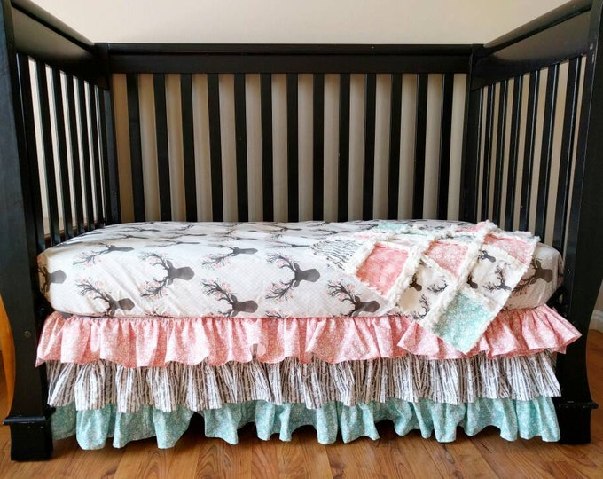 Featured listing image: Floral Stag Crib Set for Baby Girl