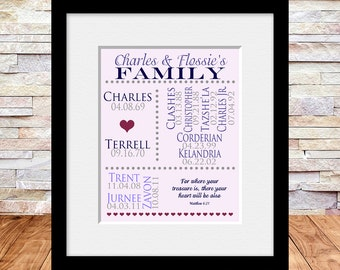 Large Family Print, Gift for Grandparents, Aunt Gift, Birthdate Print, Personalized Grandparent Gift, Anniversary Gift, Matthew 6:21
