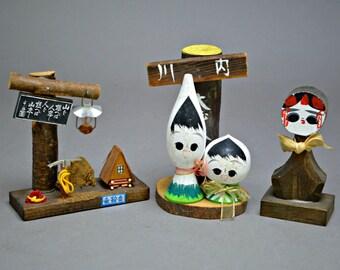 Lot of 3 Japanese Kokeshi Doll