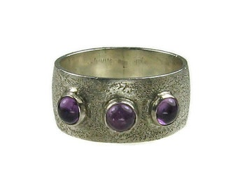 Vintage Silver and Amethyst Artisan Ring