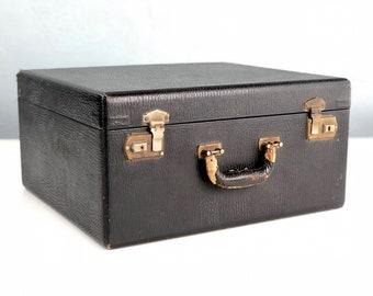 Vintage Black Suitcase with Blue Interior, Square Suitcase, Mid Century Luggage