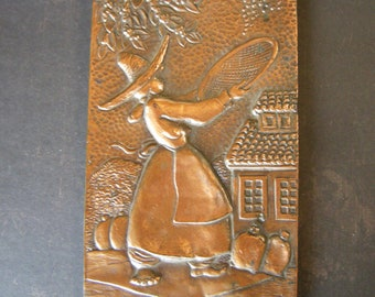 THE OLIVE PICKER Vintage Copper Handmade Artisan Wall Plaque from Brazil