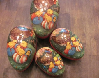 Large Vintage Paper Mache Nesting Easter Egg With 4 Eggs Total Made In WESTERN GERMANY With Hen And Baby Chicks