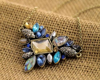 Jewel Necklace Faceted Stones