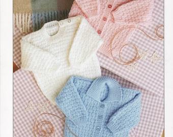 baby cardigan and sweater dk knitting pattern 99p pdf