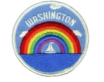 Washington Patch - Rainbow and Sailboat (Iron on)