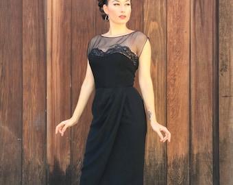 1950s Jean of California Illusion Dress