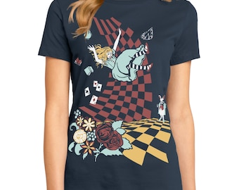 Alice in Wonderland T-shirt, Down the Rabbit Hole T-shirt, Womens graphic tee, Gift for her, Art T-shirt, Cool t-shirt