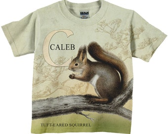 Squirrel Shirt, Personalized Woodland T-Shirt, Boy or Girl Personalized Shirt, Squirrel T-Shirt
