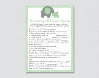 Elephant Baby Shower Nursery Rhyme Quiz Game in Green and Gray - Printable Instant Download - Green and Gray Elephant Baby - 0024-G