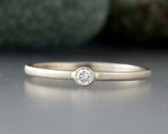 White Gold Diamond Ring - 2.5mm Diamond Engagement Ring in solid 14k white or yellow gold
