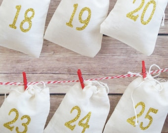 Advent Calendar  - Garland Kit With Mini Clothespins and String - Christmas Countdown - 25 Numbered Muslin Fabric Advent bags