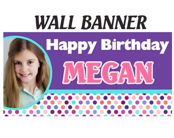 Happy Birthday Banner - Purple Polka Dots Photo Birthday Personalized Party Banners - Large Party Banner, Custom Banners, Event Banners