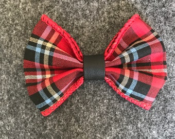 Red multi color with leather:bow tie/bow
