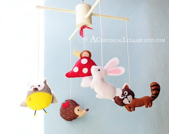 Woodland Baby Mobile No.1, Owl Rabbit Mushroom, Woodland Nursery Decor