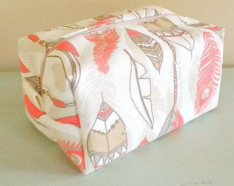 Feather Makeup Bag  - Coral Cosmetic Pouch -  Lunch Bag - Wet Bag - Waterproof Bag