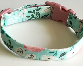 Aqua and Pink Floral Girl Dog and Cat Collar