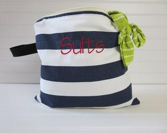 Personalized Gift for Mom -  Bikini Bag, Small Swim Suit Bag, Beach Wet Bag, Surfing Wet Bag, Bikini Wet Bag, Monogram Wet Bag