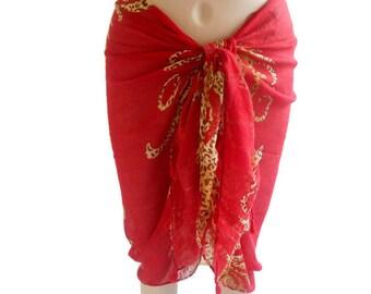 Sarong pareo wrap, leopard sarong, Beachwear Cover up, Red Sarong, Sarong Swimsuit, Sarong Pareo, Large Scarf Shawl, Sarong Cover up